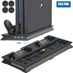 Vertical Stand with Cooling Fan for Sony Playstation 4 Pro with Dual Controllers Charger