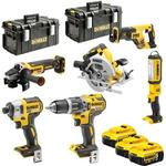 Værktøjssæt DeWalt DCK623P3-QW (DCG405 + DCS367 + DCS570 + DCF887 + DCD796 + DCL050); 18 V; 3x5,0 Ah batt.
