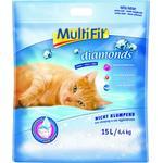 MULTIFIT Kattegrus Diamonds, silikat ikke klumpende 15 l / 6,4 kg