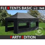 Foldetelt FleXtents Easy up pavillon Basic v.2, 3x6m Sort, inkl. 6 sider