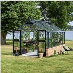 Juliana Premium drivhus 13,0 m2 antracit på mur + 3 mm hærdet glas