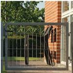 Hortus låge i galvaniseret til panelhegn med X-deko inkl. stolper 78 x 100 cm