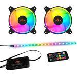 DUTZO RGB Kit 2 - 2x RGB blæsere + 1x LED strip + fjernbetjening & controller -