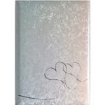 Fotoalbum I Hvid Satin M/sølv Hjerter - 30 X 31 Cm