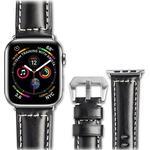 Qialino Apple Watch Series SE/6/5/4/3/2/1 Læderrem - 42mm, 44mm - Sor