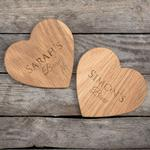 Personalised Set Of 2 Wooden Heart Coasters - Couple's Brew
