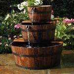 Ubbink havevandfald fontæne trætønde sæt med 3 tønder