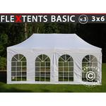 Foldetelt FleXtents Easy up pavillon Basic v.3, 3x6m Hvid, inkl. 4 sider