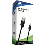 Orb PS5/XBX 3m Controller Charge Cable (USB C) - Game controller oplader / data kabel - Sony Playstation 5