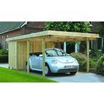 Gardenpro carport enkel i træ med skur 320x650 cm
