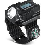 Kraftig LED lommelygte med ur og kompas til håndled
