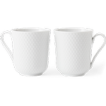 Lyngby Porcelain - Krus - Rhombe Kop med hank 33 cl 2 stk. - Hvid
