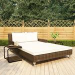 vidaXL 2-personers solseng til haven med hynder polyrattan brun