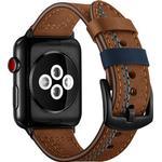 Apple Watch Series SE/6/5/4/3/2/1 Stitched Læderrem - 42mm, 44mm - Br