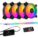 DUTZO RGB Kit 4 - 4x RGB blæsere + 1x LED strip + fjernbetjening & controller -
