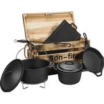 Bon-Fire støbejern basissæt sort i trækasse 800014