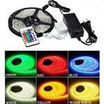 RGB sæt: 15m LED strip 60 LED, 10w, kontroller og transformator - 24V