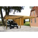 Gardenpro carport dobbelt i træ med fladt tag 600x660 cm