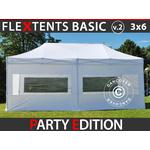 Foldetelt FleXtents Easy up pavillon Basic v.2, 3x6m Hvid, inkl. 6 sider
