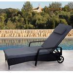 Polyrattan aluminium solseng - sort luksus solvogn og liggestol