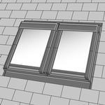 VELUX Tvillinginddækning EBL 0021B t/ Fladt tag - CK04 - 55 x 98 cm