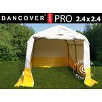 Opbevaringstelt Garagetelt/arbejdstelt /Håndværkertelt PRO 2,4x2,4x2m, PVC, Hvidt/gult, Flammehæmmende