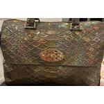Pre-owned Mulberry Python Embossed Lily Handbag Brown