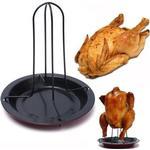 Chicken Roaster Holder Rack Bbq Baking Pan - As Seen on Image