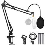 Microphone Stand For Blue Yeti And Snowball With Mic Pop Filter And Shock Mount Boom Scissor Arm Bracke For Bm 800 - As Seen on Image