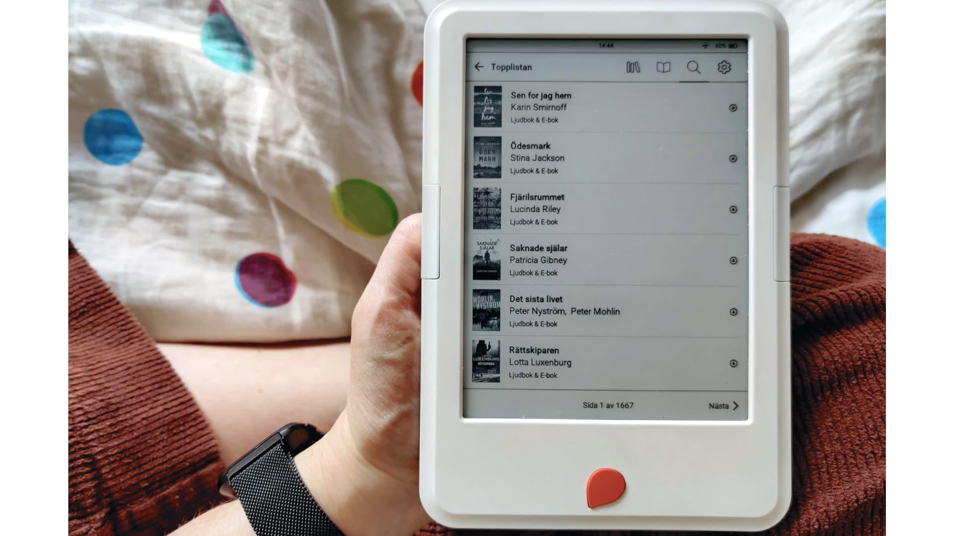 Billede af Storytel reader - der vælges titler fra menuen