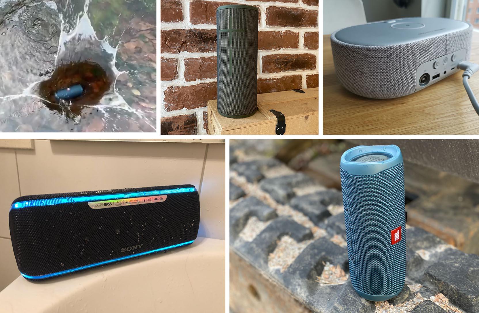 Collage af billeder, som viser hvordan det kan se ud, når vi tester bluetooth højttalere