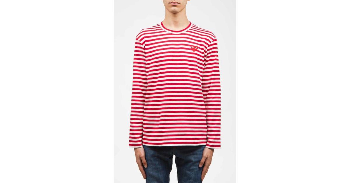 Comme des Garçons Play Red Heart Striped T shirt RedWhite Sammenlign priser & anmeldelser på PriceRunner Danmark