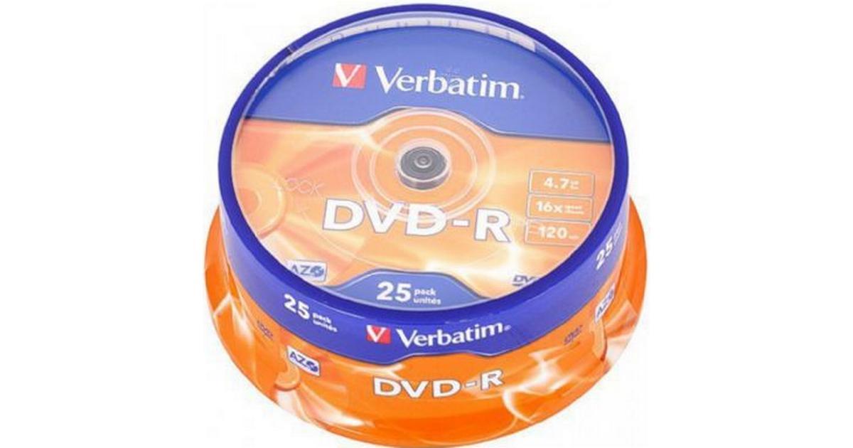 Picture of: Verbatim Dvd R 4 7gb 16x Spindle 25 Pack Se Priser Hos Os