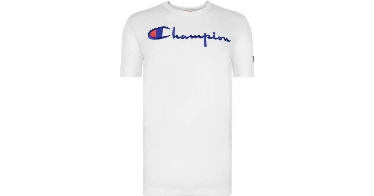 Champion Script Logo Crew Neck T Shirt White