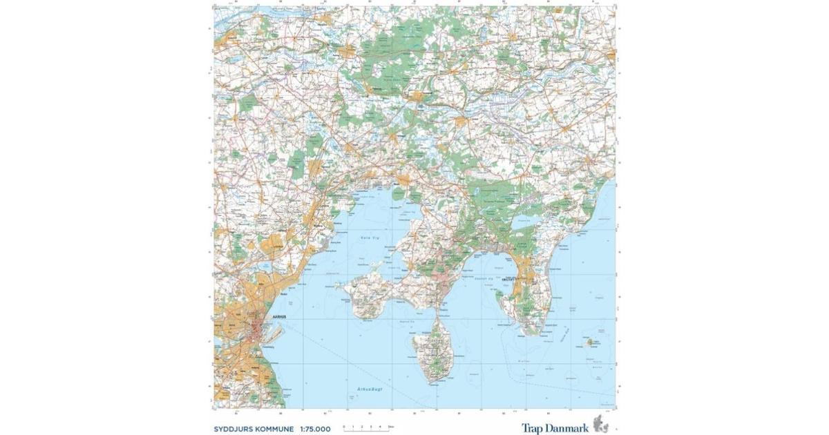 Kort Over Syddjurs Kommune Topografisk Kort 1 75 000 Se Priser Nu