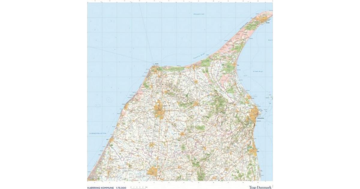 Trap Danmark Kort Over Hjorring Kommune Topografisk Kort 1