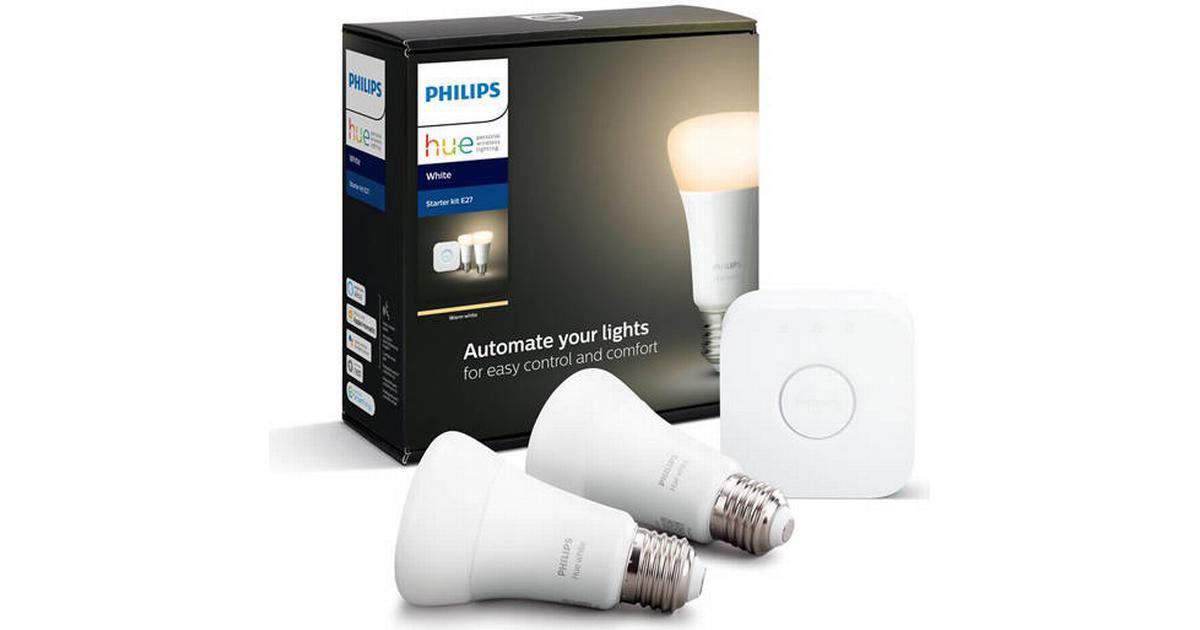Philips Hue White LED Lamps 9W E27 2 pack Starter kit