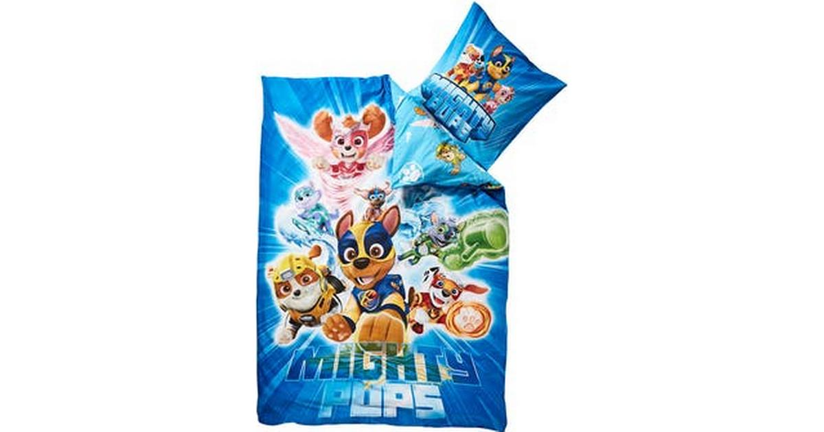 Picture of: Paw Patrol Mighty Pups Sengetoj 140x200cm Se Priser Hos Os