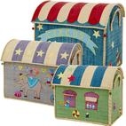 Rice Large Raffia House Toy Baskets Circus 3-pack