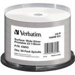 CD Verbatim CD-R No ID Brand 700MB 52x Spindle 50-Pack Wide Inkjet