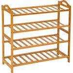 Skohylde tectake Bamboo 4 Shelves Skohylde