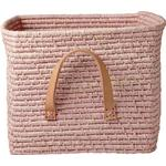 Rice Small Square Raffia Basket with Leather Handles