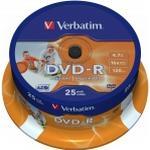 CD/DVD/BD-medie Verbatim DVD-R 4.7GB 16x Spindle 25-Pack Wide Inkjet