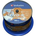 Optiske disk medier Verbatim DVD-R 4.7GB 16x Spindle 50-Pack Wide Inkjet
