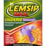 Lemsip Max Cold & Flu Blackcurrant 650mg 5Sachets 5stk