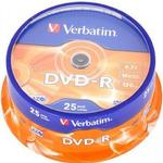 Optiske disk medier Verbatim DVD-R 4.7GB 16x Spindle 25-Pack