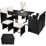 Havemøbelsæt Havemøbler tectake Polyrattan havemøbelsæt Bilbao med overtræk Havemøbelsæt, 4 borde inkl. 1 stole