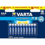 Engangsbatterier Varta High Energy AAA 10-pack