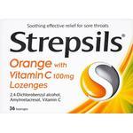 Ondt i halsen Strepsils Lozenges Orange & Vitamin C 36stk