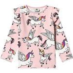 T-shirt Børnetøj Småfolk Unicorn LS Puff Sleeves T-shirt - Silver Pink (91-0192)
